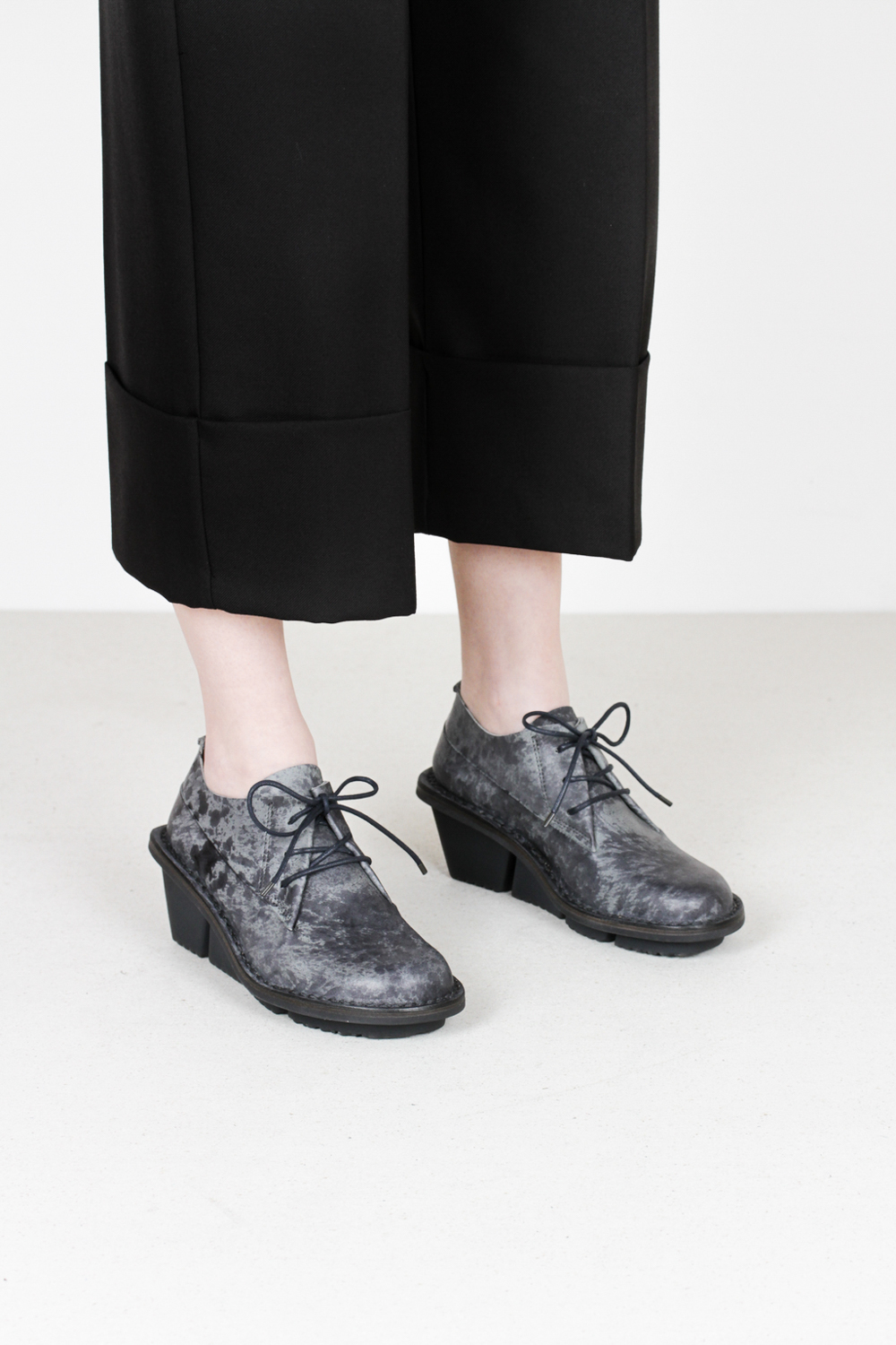 Trippen stone f cst grey ash leather shoes