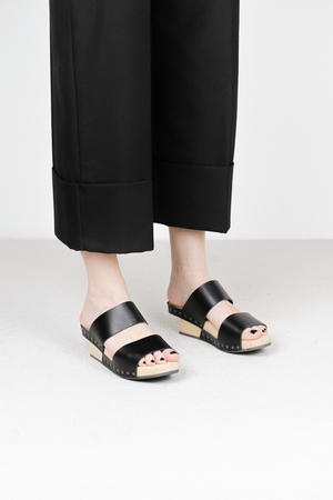 Trippen candy f waw blk wooden sandals