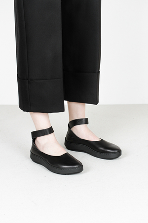 Trippen lake f waw blk leather ballerinas