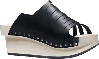 graphical Trippen wooden sandal in black