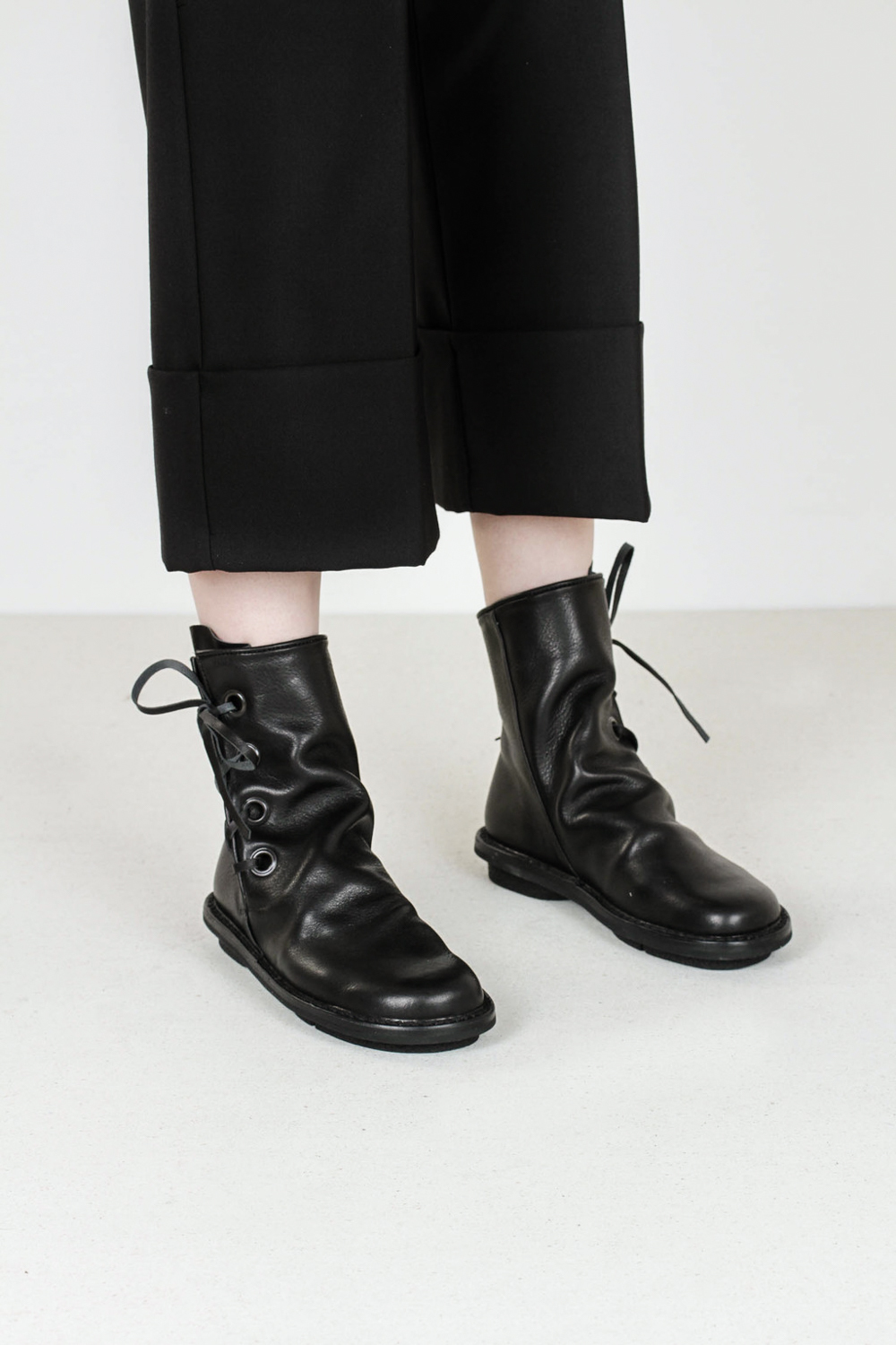 Trippen tramp f waw blk leather shoes