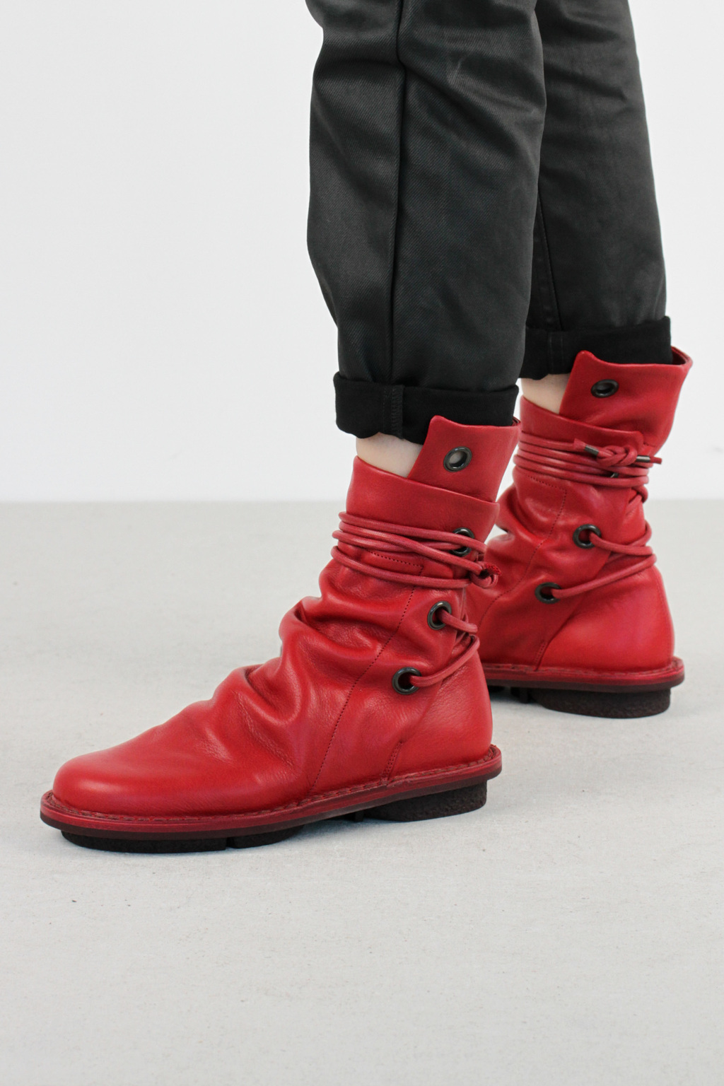 Trippen awning f red sat leather boots 2