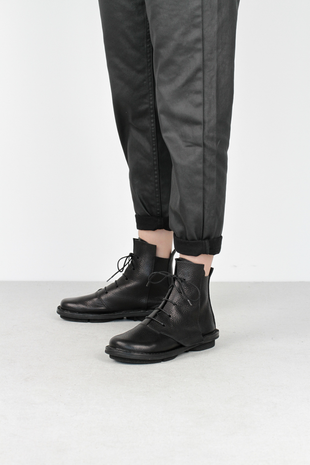 Trippen lumber f black waw leather boots