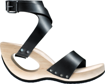 Avantgarde wooden shoe with graphic straps.
